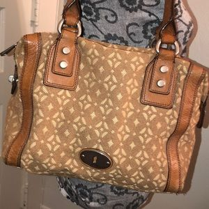 Fossil Leather & Fabric Shoulder Bag Good Cond